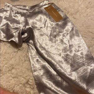 NWT off the shoulder silver top